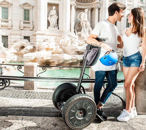 Couple in front of Trevi Fountain of Rome