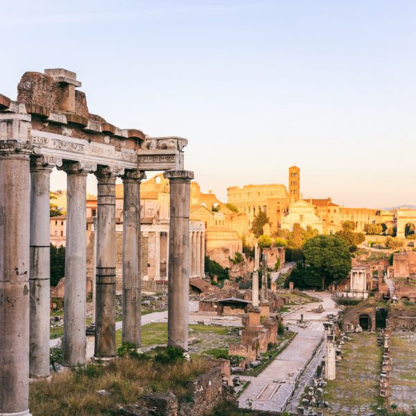 Remains of Roman forum and Palatine hill with the Temple of Saturn