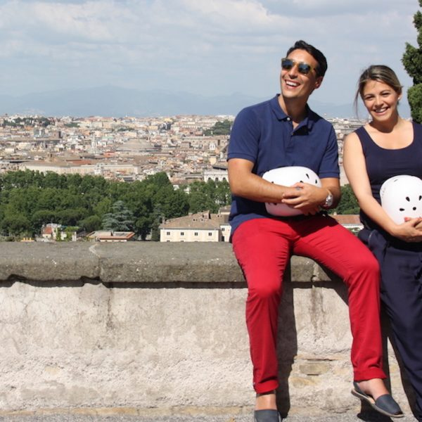 A couple enjoying the view of Rome from Gianicolo hill