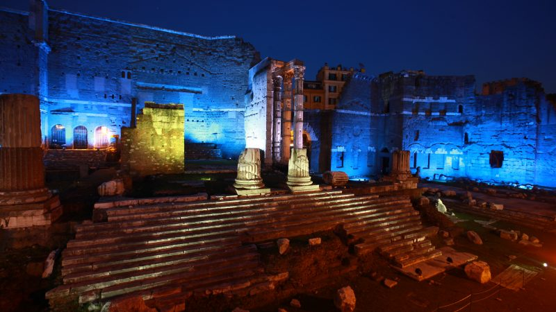Roman Forums at Night light up by colourful light