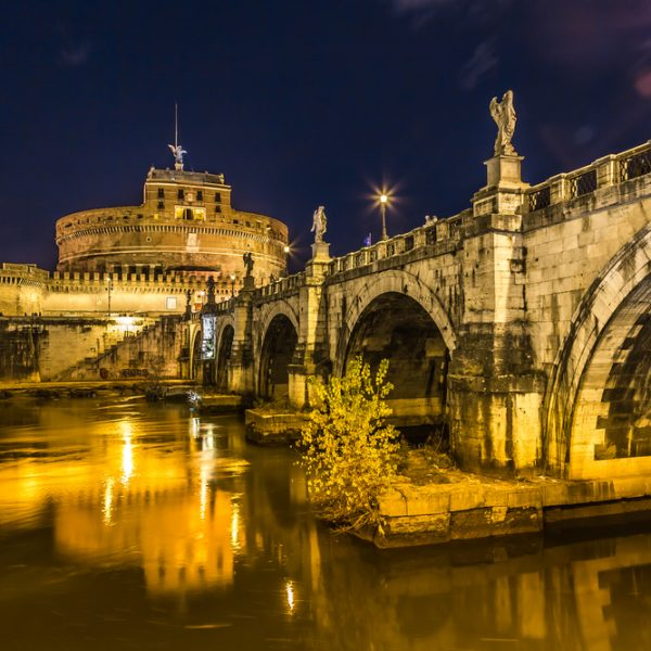 Saint Angel Castle with Ponte degli angeli at night