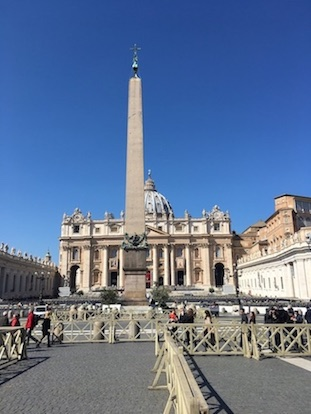 St. Peter's basilica at Vatican city, view from St.Peter`s square