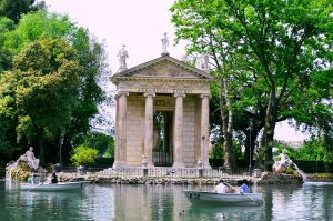 Lake with a temple inside of the park Villa Borghese
