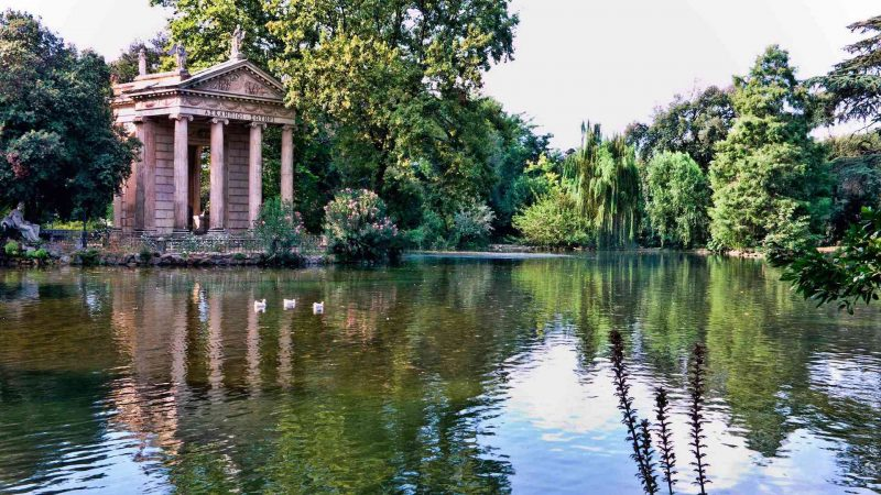 Lake with the temple in Villa Borghese in Rome