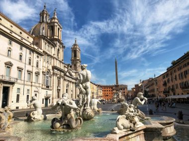 Piazza Navona with three fountains and church of st. Agnes in Rome