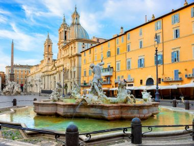 One of the most famous fountains of Rome at Piazza Navona