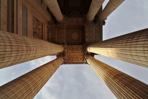 Detail of columns at the entrance to the Pantheon of Rome