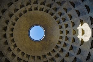 Oculus, 9m wide hole on the top of the dome of Pantheon of Rome.