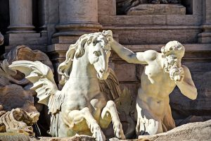 Tritons with horses on the Trevi fountain