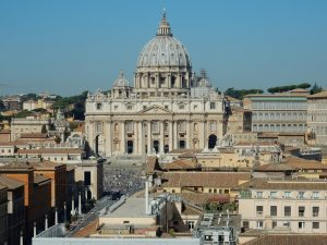 View of St. Peter`s basilica of the Vatican in Rome