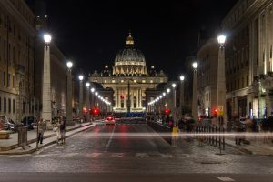 St. Peter`s basilica in the Vatican city at night