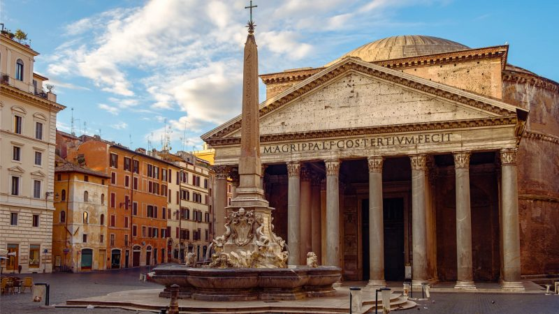 Egyptian obelisk infront of Pantheon in Rome in the morning without tourists Rome