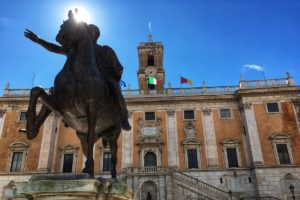 Capitoline Hill in Rome with the statue of Marcus Aurelius and Musei Capitolini behind