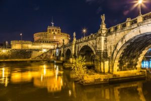 Castle of Holy Angel with bridge at night