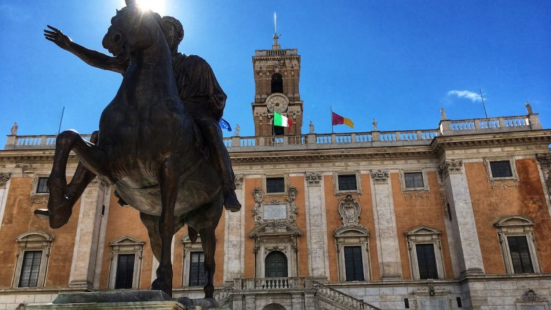 Campidoglio in Rome with statue of Marcus Aurelius