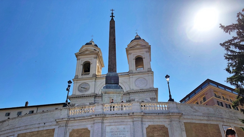 Church of Trinita dei Monti from Spanish Steps in Rome