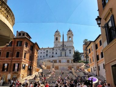 Spanish steps with the church of Trinita dei monti in Rome