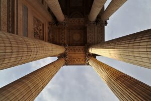 Detail of columns at the entrance to Pantheon in Rome