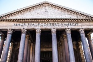 Portal with columns of Pantheon in Rome