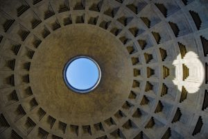 Oculus is nine metres wide hole on the top of the dome of Pantheon in Rome