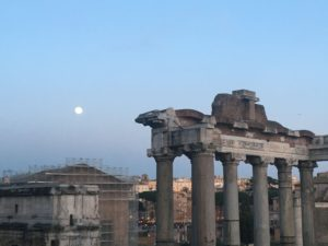 Ruins of Roman Forum at the sunset