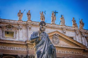 Statue of Saint Peter at the colonnade of St. Peter's Basilica in Vatican City in Rome