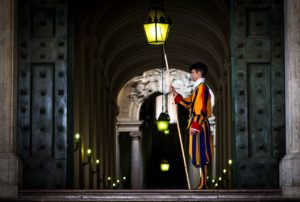 Swiss guard at the entrance to the Vatican City