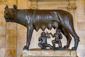 Bronze statue of she-wolf feeding Romulus and Remus in Capitoline museums in Rome