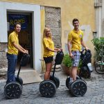 Three guides on segway in front of Segway Fun Rome office in Piazza Montevecchio 15