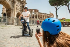 Riding Segway at Colosseum in Rome Italy