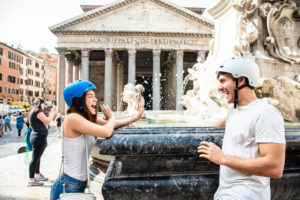 Couple of tourists in front of Pantheon in Rome in Italy